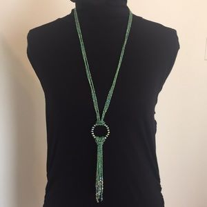 Lariat Style Necklace W/ Iridescent Green Beads